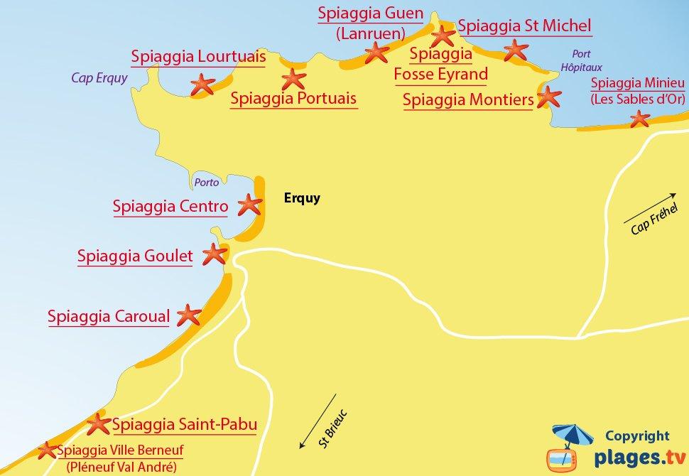 Mappa spiagge di Erquy in Francia - Bretagna
