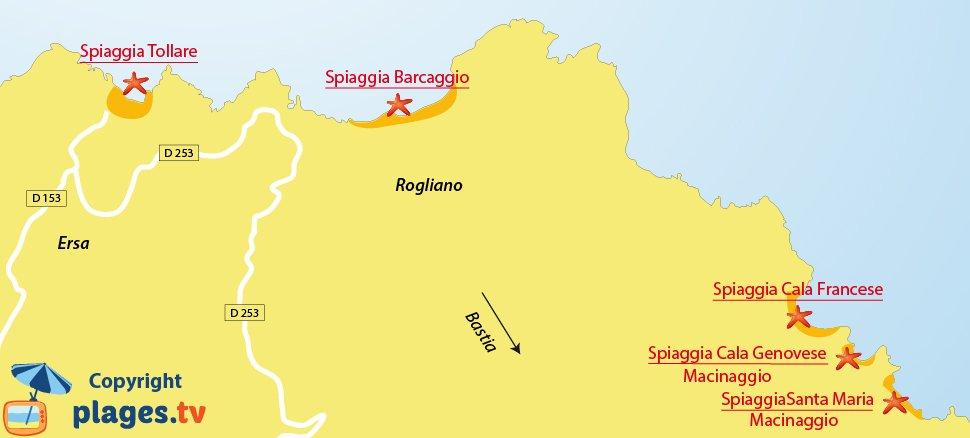 Mappa spiagge Ersa e Barcaggio - Corsica