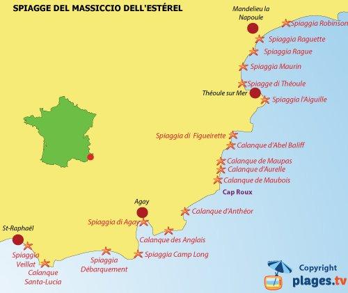 Cartina Costa Azzurra.Le Varie Calanche E Spiagge Dell Esterel Costa Azzurra