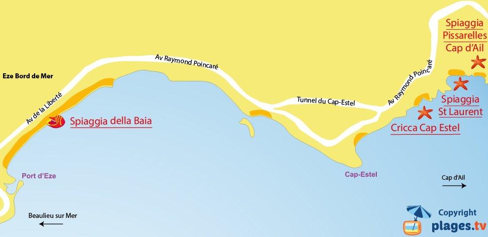 Mappa spiagge di Eze in Francia
