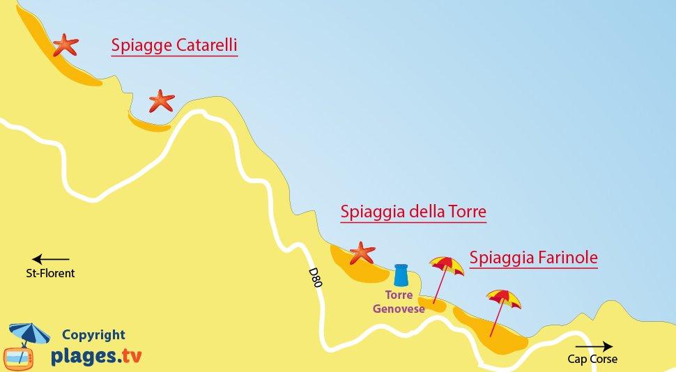 Mappa spiagge di Farinole in Corsica
