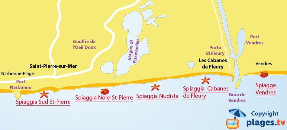 Mappa spiagge di Fleury d'Aude in Francia