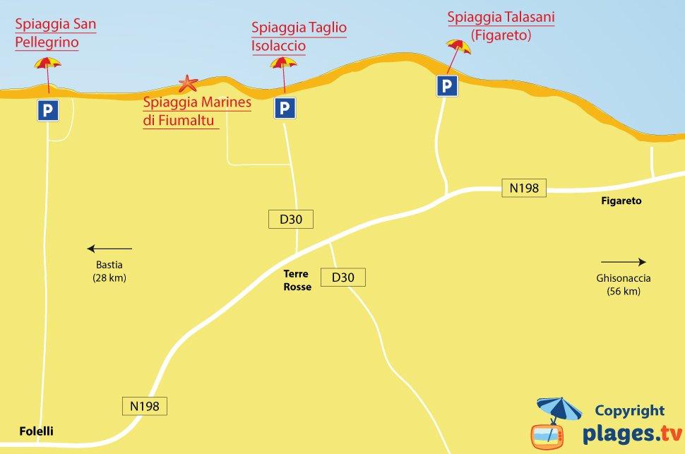Mappa spiagge di Folelli - Penta di Casinca - Corsica
