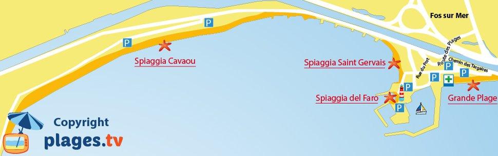 Mappa spiagge di Fos sur Mer in Francia