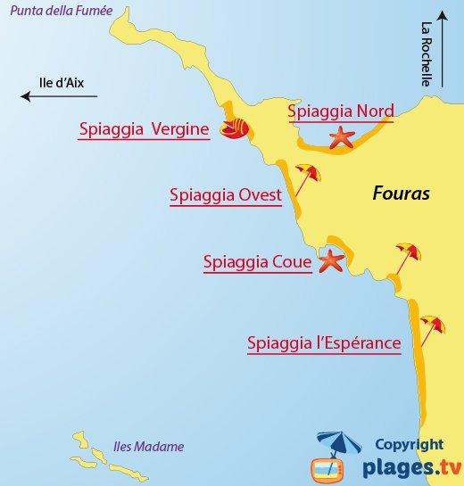 Mappa spiagge di Fouras in Francia