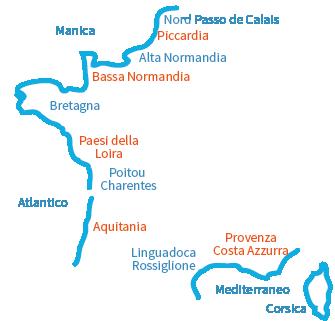 Mappa Spiagge in Francia