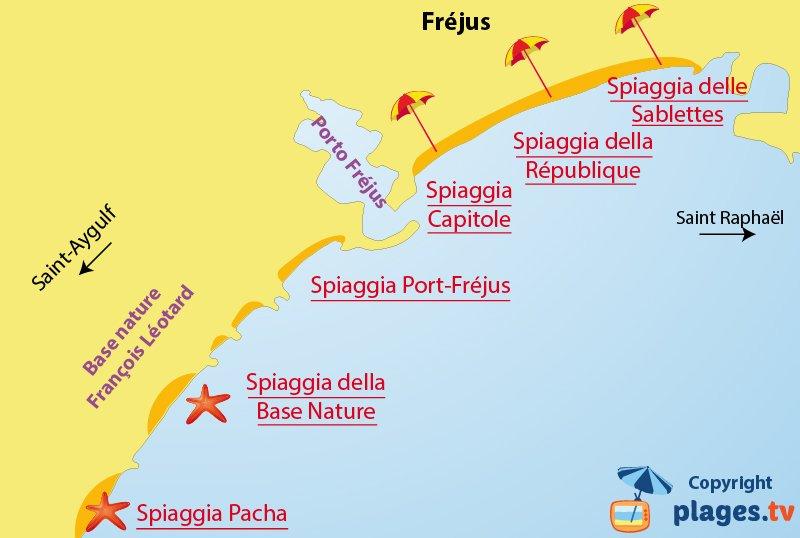 Mappa spiagge a Frejus - Francia