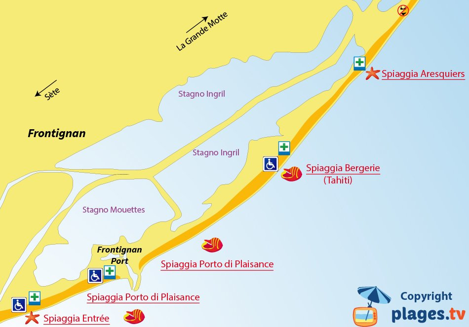 Mappa spiagge di Frontignan in Francia