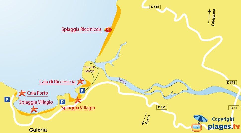 Mappa spiagge di Galeria in Corsica