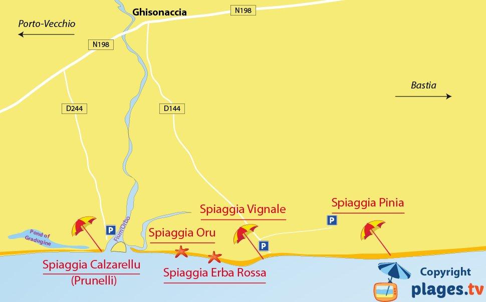 Mappa spiagge di Ghisonaccia in Corsica