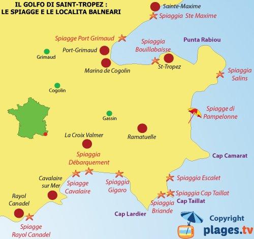 Mappa spiagge del golfo di Saint Tropez - Francia