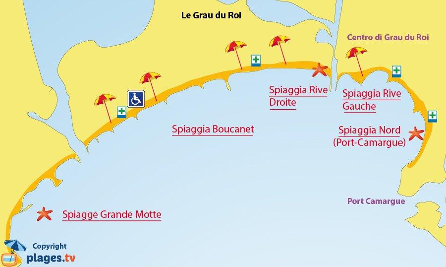 Mappa spiagge del Grau du Roi - Francia