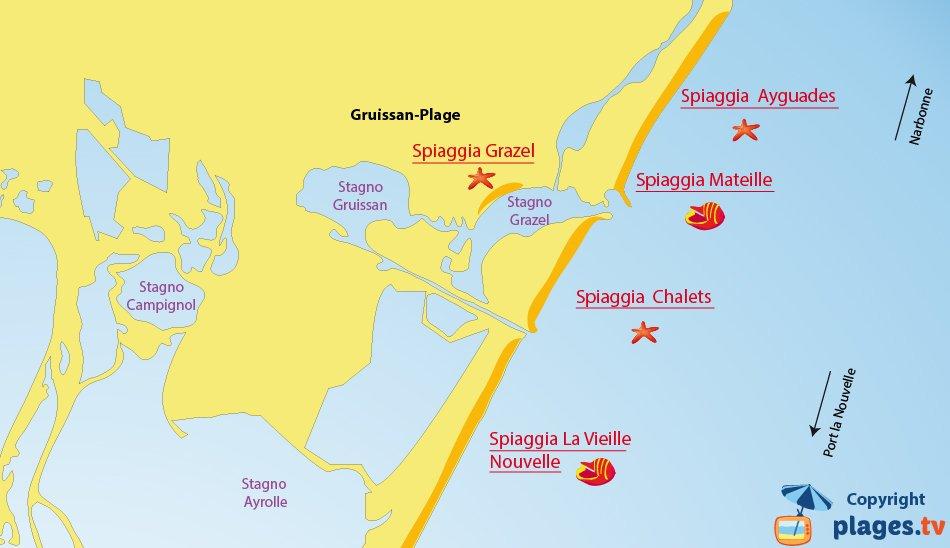 Mappa spiagge di Gruissan in Francia