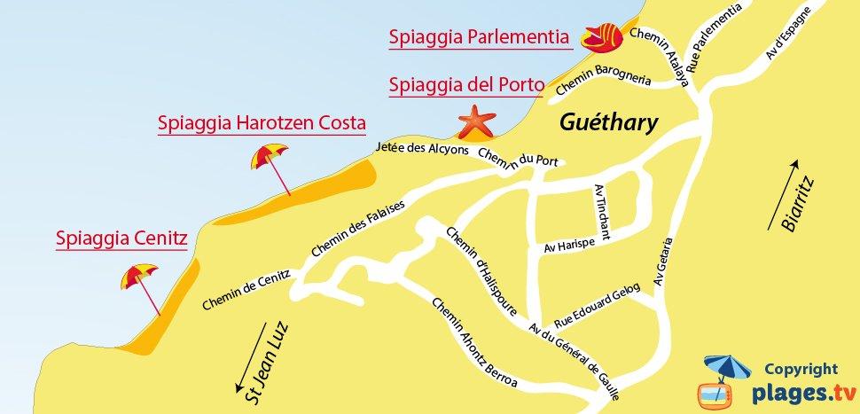 Mappa spiagge di Guéthary in Francia - Paesi Baschi
