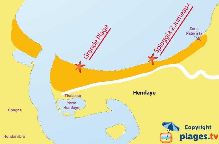 Mappa spiagge di Hendaye - Francia