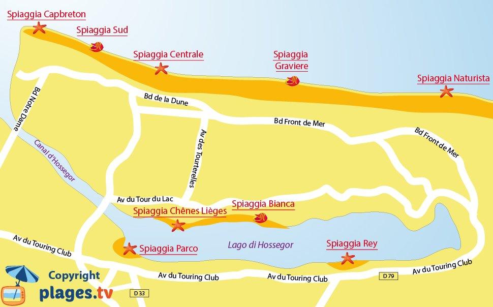Mappa spiagge di Hossegor in Francia