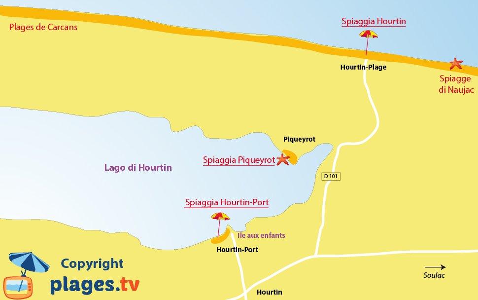 Mappa spiagge di Hourtin in Francia
