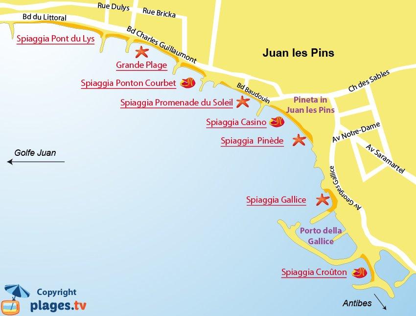 Mappa spiagge di Juan les Pins - Francia