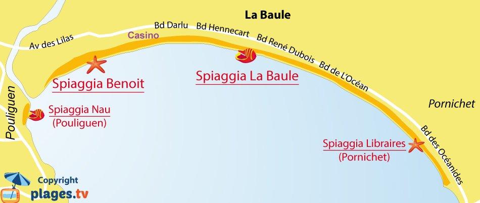 Mappa spiagge di La Baule in Francia