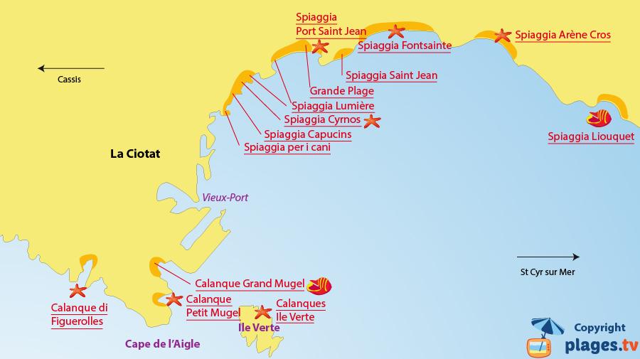 Mappa spiagge a La Ciotat - Francia