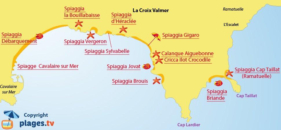 Mappa spiagge La Croix Valmer - Francia