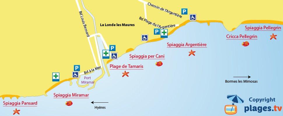 Mappa spiagge di La Londe Les Maures in Francia