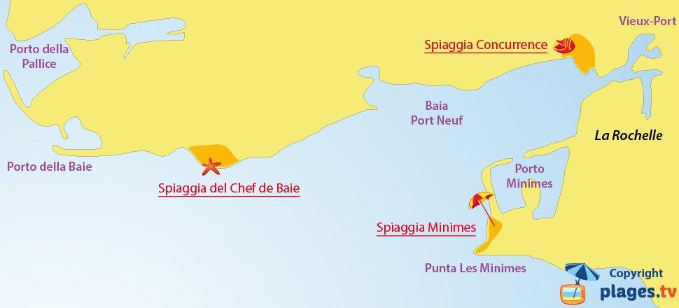 Mappa spiagge della Rochelle in Francia