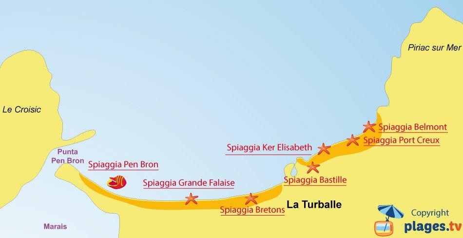 Mappa spiagge La Turballe - Francia