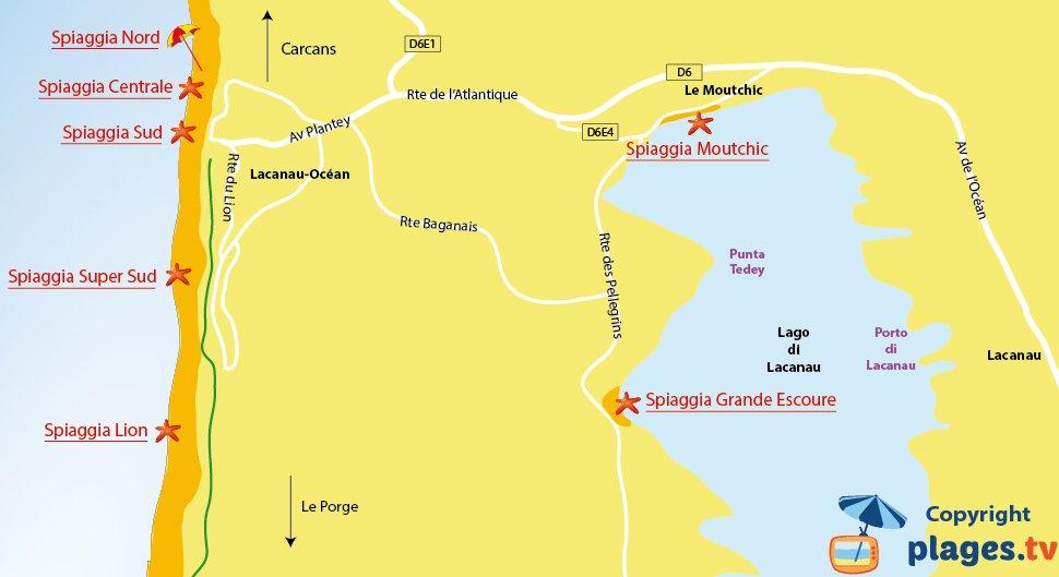 Mappa spiagge di Lacanau in Francia
