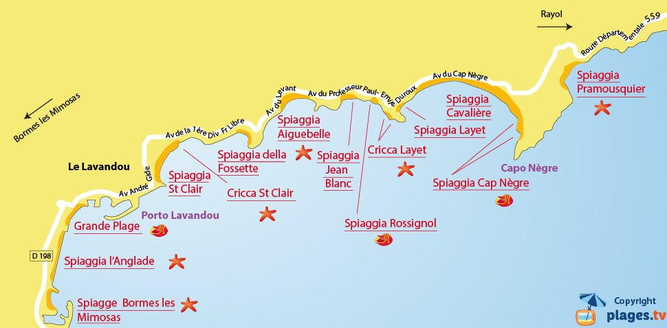 Mappa spiagge di Lavandou - Francia