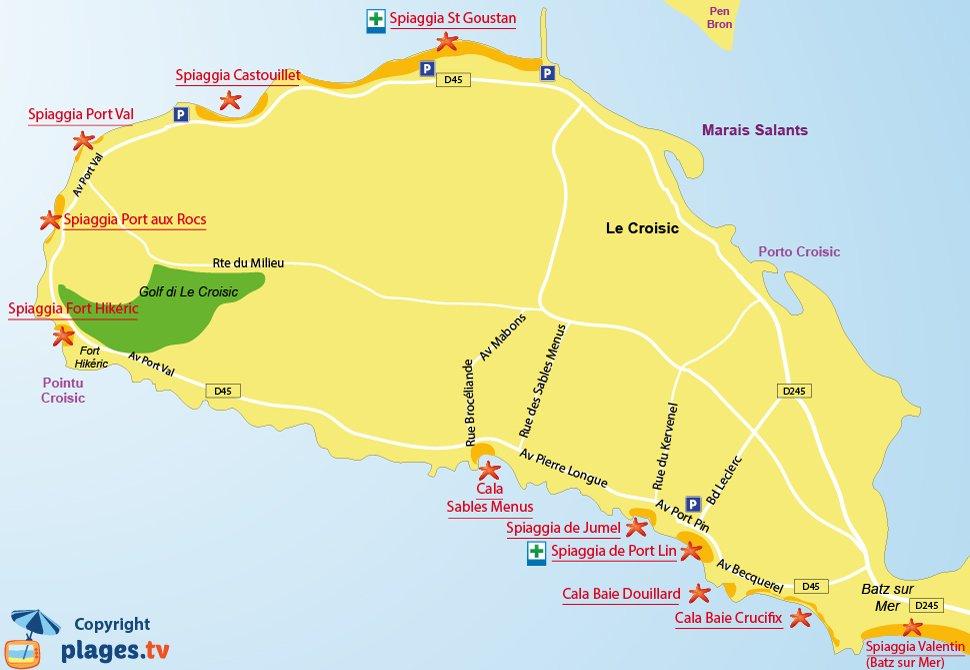 Mappa spiagge Le Croisic in Francia