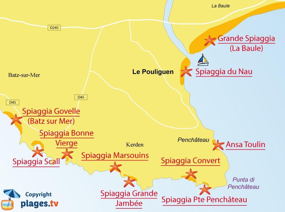 Mappa Spiagge di Le Pouliguen in Francia