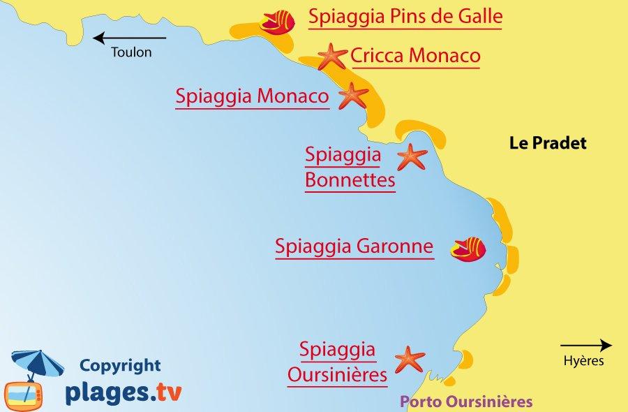 Mappa spiagge del Pradet - Francia