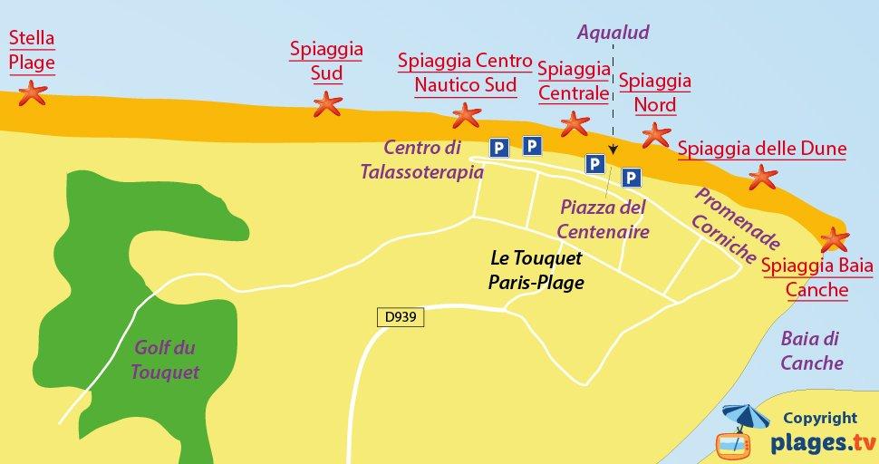 Mappa spiagge di Le Touquet in Francia