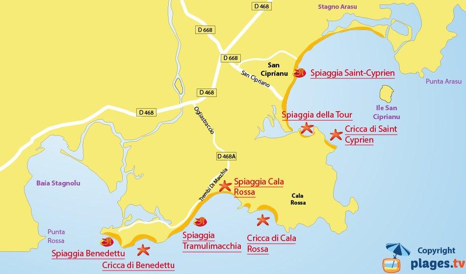 Mappa spiagge di Lecci - Corsica