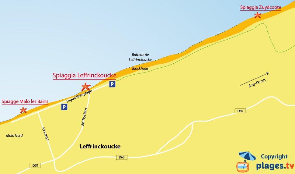 Mappa spiagge di Leffrinckoucke in Francia