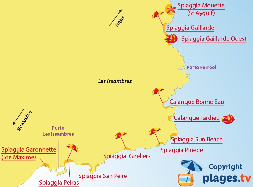 Mappa spiagge Les Issambres in Francia