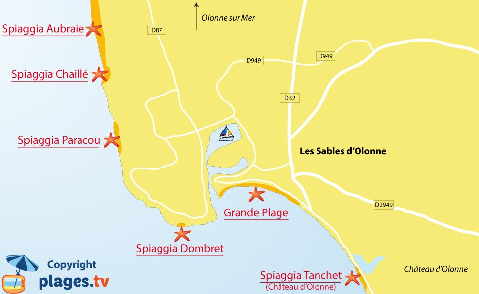 Mappa spiagge Les Sables d'Olonne in Francia