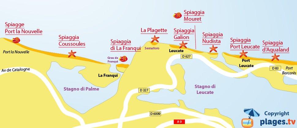 Mappa spiagge di Leucate - Francia