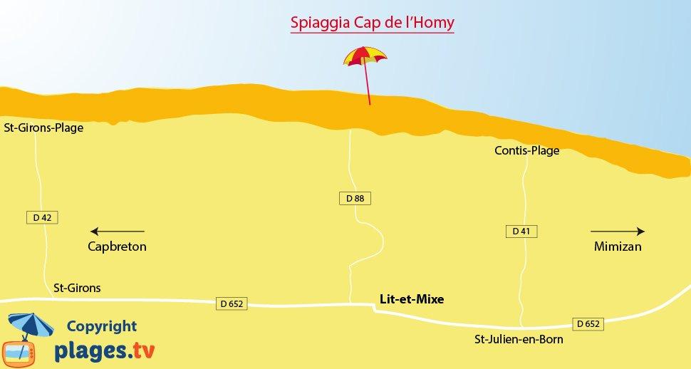 Mappa spiagge di Lit et Mixe in Francia - Landes