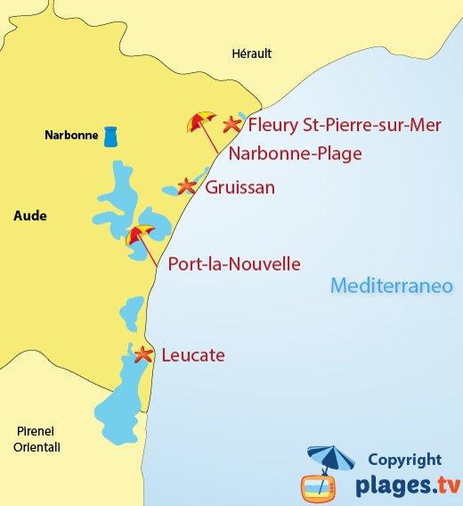 Mappa spiagge e localita balneari dell'Aude Francia