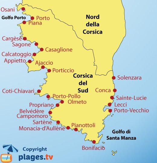 Mappa spiagge Corsica del Sud e località turistiche