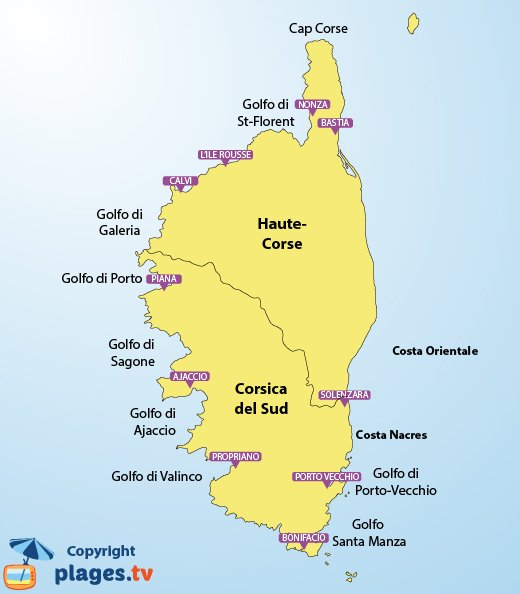 Mappa spiagge Corsica