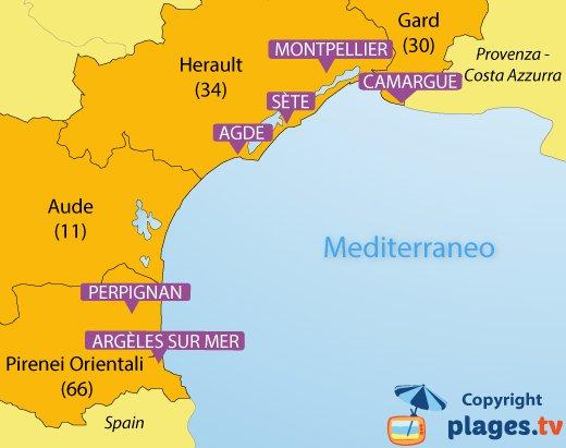 Mappa spiagge e localita balneari del Languedoc Roussillon - Francia