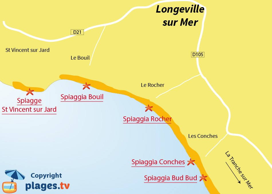 Mappa spiagge Longeville sur Mer - Francia