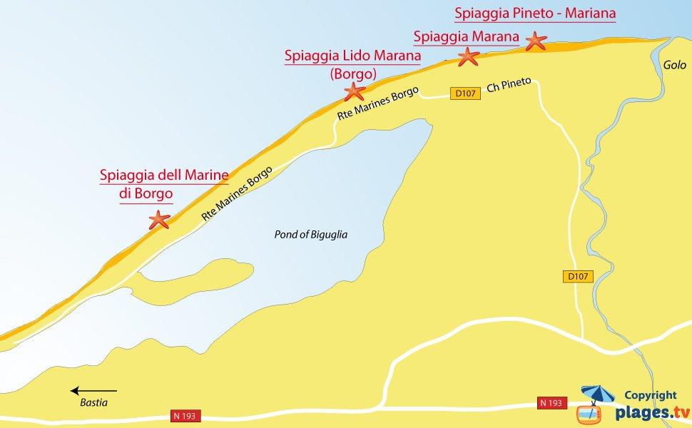 Mappa spiagge di Lucciana in Corsica