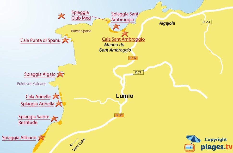 Mappa spiagge di Lumio in Corsica
