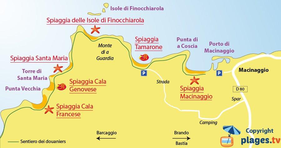 Mappa spiagge di Macinaggio - Corsica
