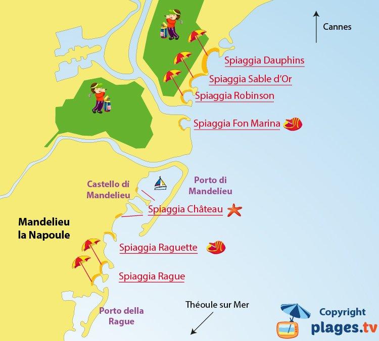 Mappa spiagge di Mandelieu la Napoule in Francia