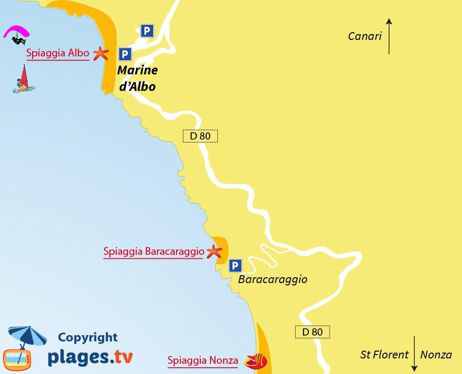 Mappa spiagge Marine di Albo in Corsica